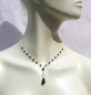 Mobile Preview: Collier 16x schwarzer facettierter Onyx 925 Silber Schlingen