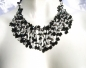 Mobile Preview: Collier 150x Onyx Howlith Blumen weite Kaskaden schwarz