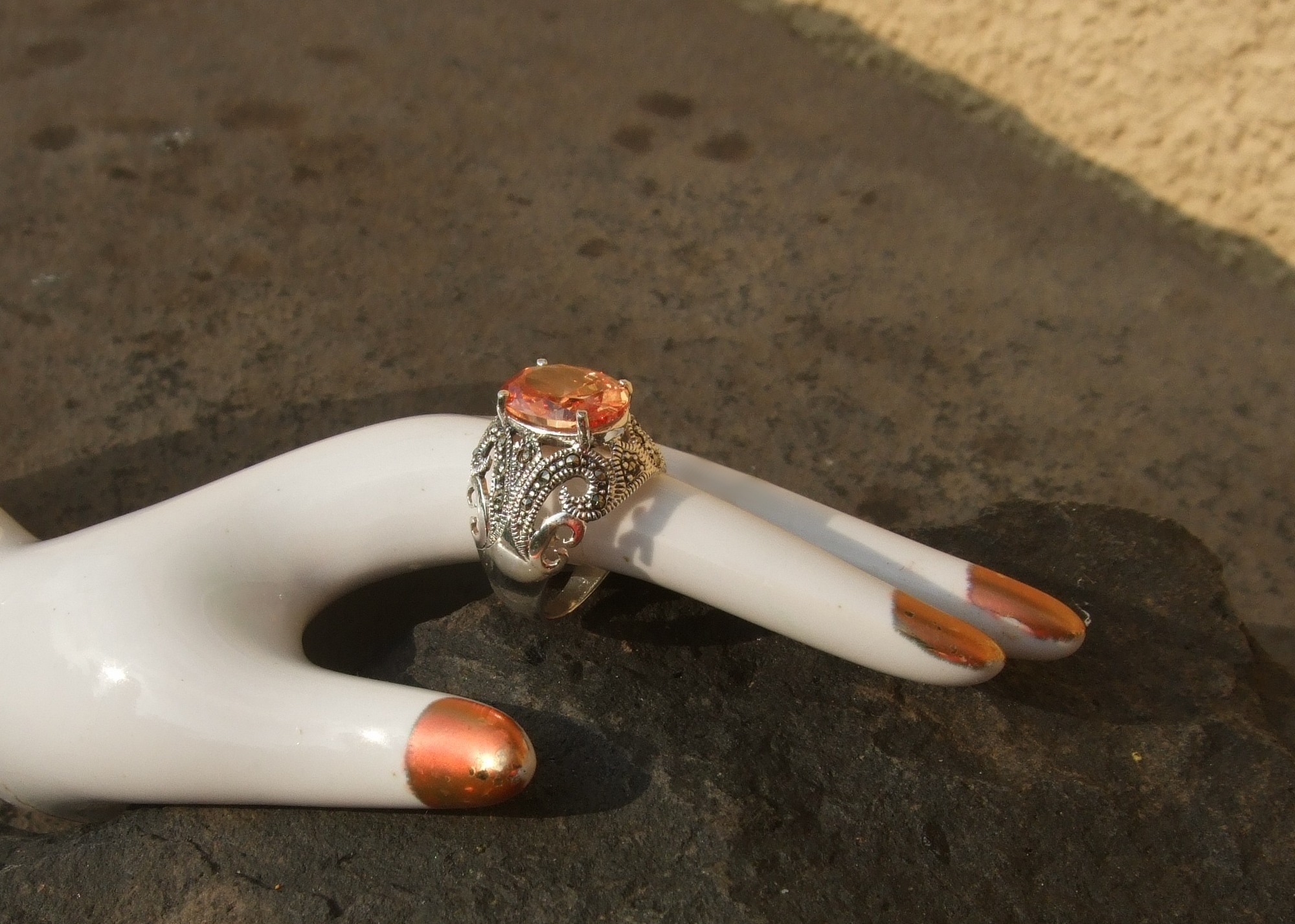 Ring champagner Zirkonia facettiert 30x Markasit 925 Silber Cocktail oval
